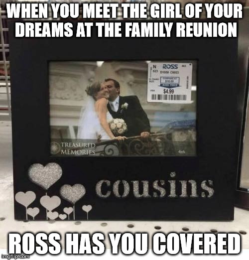 WHEN YOU MEET THE GIRL OF YOUR DREAMS AT THE FAMILY REUNION ROSS HAS YOU COVERED | image tagged in marriage,cousins,too funny | made w/ Imgflip meme maker
