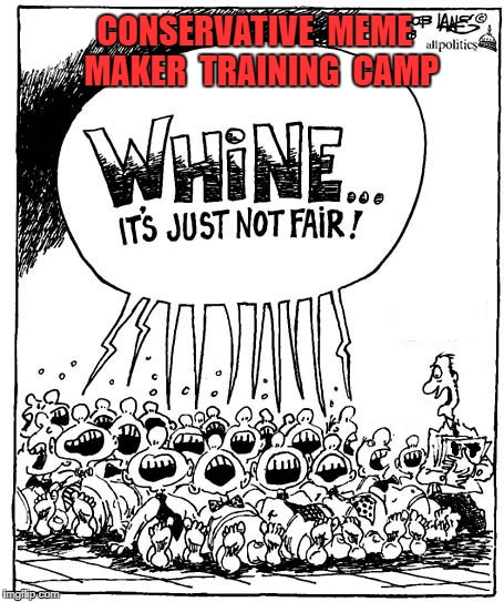 CONSERVATIVE  MEME  MAKER  TRAINING  CAMP | image tagged in conservative cry fair | made w/ Imgflip meme maker