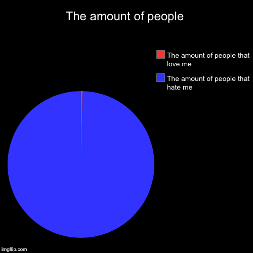 The amount of people | The amount of people that hate me, The amount of people that love me | image tagged in funny,pie charts | made w/ Imgflip pie chart maker