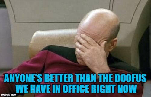 Captain Picard Facepalm Meme | ANYONE'S BETTER THAN THE DOOFUS WE HAVE IN OFFICE RIGHT NOW | image tagged in memes,captain picard facepalm | made w/ Imgflip meme maker