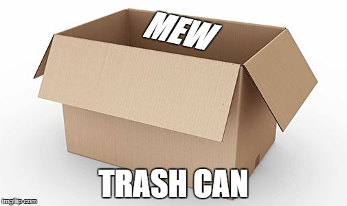 Empty Cardboard Box | MEW TRASH CAN | image tagged in empty cardboard box | made w/ Imgflip meme maker