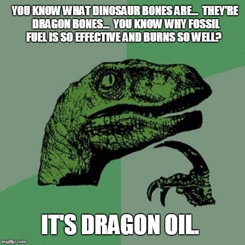Philosoraptor Meme | YOU KNOW WHAT DINOSAUR BONES ARE...  THEY'RE DRAGON BONES...  YOU KNOW WHY FOSSIL FUEL IS SO EFFECTIVE AND BURNS SO WELL? IT'S DRAGON OIL. | image tagged in memes,philosoraptor | made w/ Imgflip meme maker