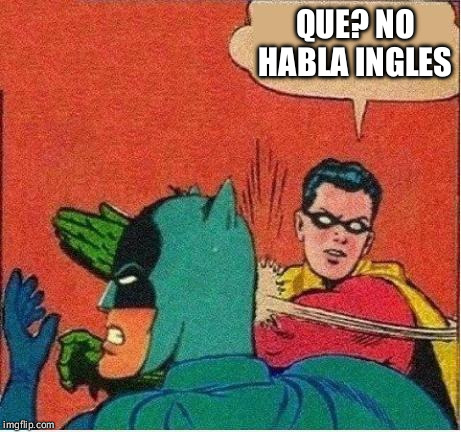 robin strikes back | QUE? NO HABLA INGLES | image tagged in robin strikes back | made w/ Imgflip meme maker