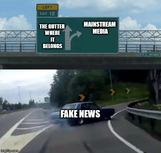 Left Exit 12 Off Ramp Meme | THE GUTTER WHERE IT BELONGS FAKE NEWS MAINSTREAM MEDIA | image tagged in memes,left exit 12 off ramp | made w/ Imgflip meme maker