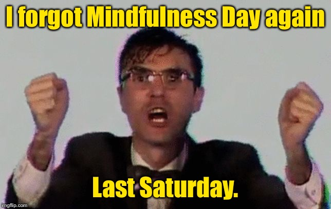 Oops, I did it again. | I forgot Mindfulness Day again Last Saturday. | image tagged in talking heads,zen,mindfulness day,forget,funny memes | made w/ Imgflip meme maker