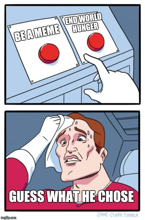 Two Buttons Meme | BE A MEME END WORLD HUNGER GUESS WHAT HE CHOSE | image tagged in memes,two buttons | made w/ Imgflip meme maker