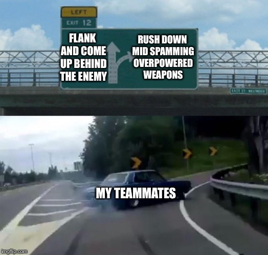 Strategy is everything! | FLANK AND COME UP BEHIND THE ENEMY MY TEAMMATES RUSH DOWN MID SPAMMING OVERPOWERED WEAPONS | image tagged in memes,left exit 12 off ramp,strategy,rush,teamwork | made w/ Imgflip meme maker