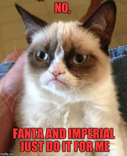 Grumpy Cat Meme | NO, FANTA AND IMPERIAL JUST DO IT FOR ME | image tagged in memes,grumpy cat | made w/ Imgflip meme maker