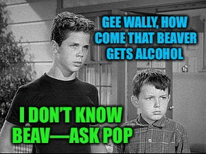 GEE WALLY, HOW COME THAT BEAVER GETS ALCOHOL I DON'T KNOW BEAV—ASK POP | made w/ Imgflip meme maker