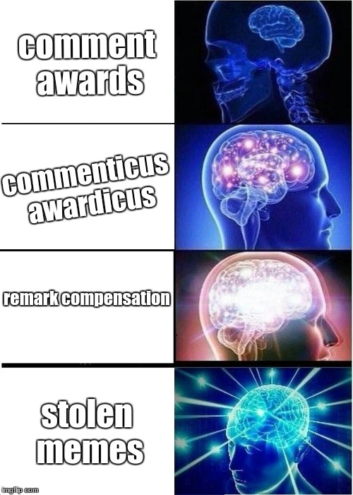 Expanding Brain Meme | comment awards commenticus awardicus remark compensation stolen memes | image tagged in memes,expanding brain | made w/ Imgflip meme maker