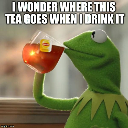 But Thats None Of My Business Meme | I WONDER WHERE THIS TEA GOES WHEN I DRINK IT | image tagged in memes,but thats none of my business,kermit the frog | made w/ Imgflip meme maker