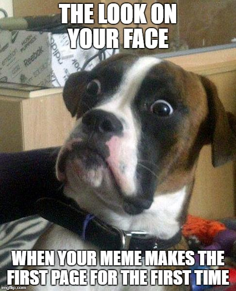 surprise | THE LOOK ON YOUR FACE WHEN YOUR MEME MAKES THE FIRST PAGE FOR THE FIRST TIME | image tagged in surprise,memes | made w/ Imgflip meme maker