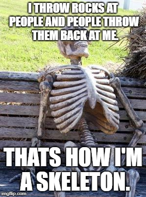 Sad Skeleton | I THROW ROCKS AT PEOPLE AND PEOPLE THROW  THEM BACK AT ME. THATS HOW I'M A SKELETON. | image tagged in memes,waiting skeleton | made w/ Imgflip meme maker