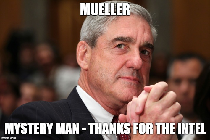 Mystery man gave intel on russia probe to Muelller | MUELLER MYSTERY MAN - THANKS FOR THE INTEL | image tagged in funny memes,trump russia collusion | made w/ Imgflip meme maker