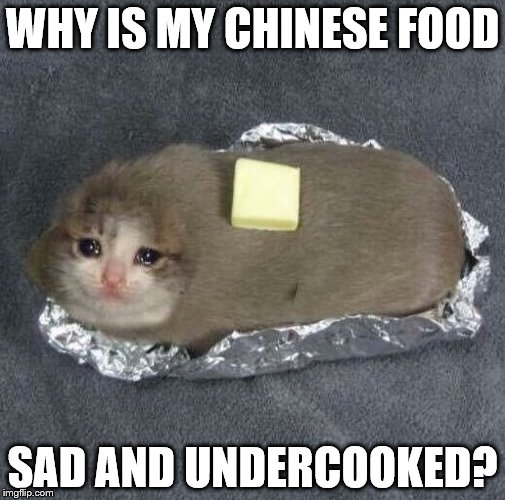 Racist | WHY IS MY CHINESE FOOD SAD AND UNDERCOOKED? | image tagged in chinese food | made w/ Imgflip meme maker