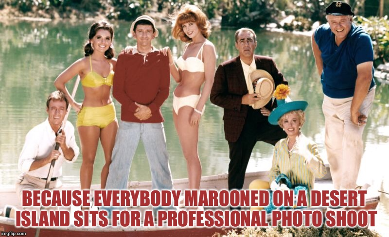 BECAUSE EVERYBODY MAROONED ON A DESERT ISLAND SITS FOR A PROFESSIONAL PHOTO SHOOT | image tagged in gilligans island week,memes | made w/ Imgflip meme maker