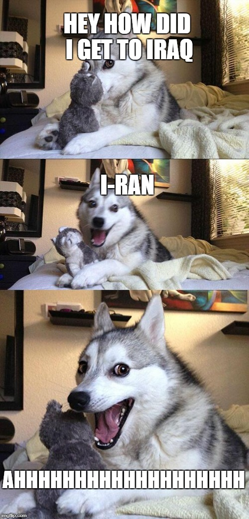 Bad Pun Dog Meme | HEY HOW DID I GET TO IRAQ I-RAN AHHHHHHHHHHHHHHHHHHH | image tagged in memes,bad pun dog | made w/ Imgflip meme maker