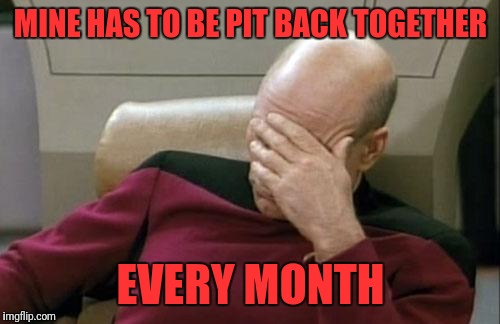 Captain Picard Facepalm Meme | MINE HAS TO BE PIT BACK TOGETHER EVERY MONTH | image tagged in memes,captain picard facepalm | made w/ Imgflip meme maker