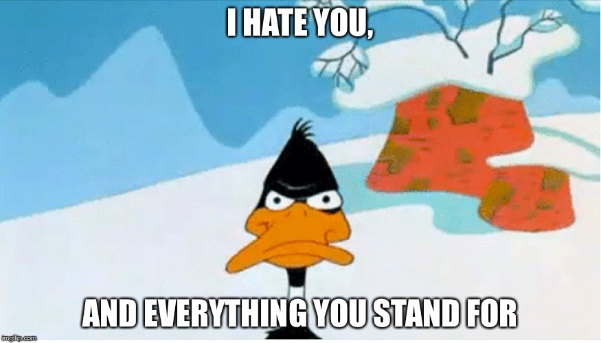 I HATE YOU, AND EVERYTHING YOU STAND FOR | image tagged in memes,daffy duck,funny | made w/ Imgflip meme maker