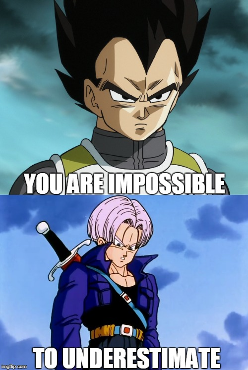 You are impossible to underestimate | YOU ARE IMPOSSIBLE TO UNDERESTIMATE | image tagged in impossible,to,underestimate,vegeta,trunks,dissapointed | made w/ Imgflip meme maker