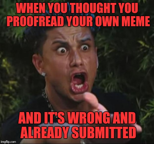 DJ Pauly D Meme | WHEN YOU THOUGHT YOU PROOFREAD YOUR OWN MEME AND IT'S WRONG AND ALREADY SUBMITTED | image tagged in memes,dj pauly d | made w/ Imgflip meme maker