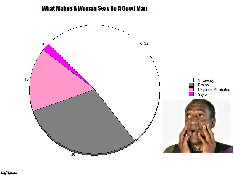 What Makes A Woman Sexy To A Good Man | . | image tagged in bill cosby,women,sexy women,intelligence,pie charts,pie chart | made w/ Imgflip meme maker