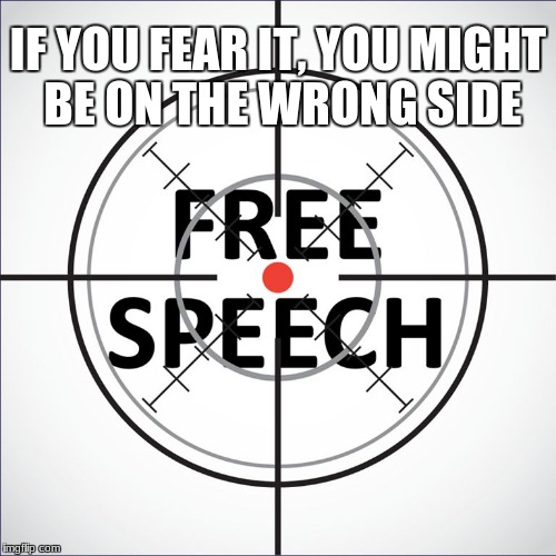 IF YOU FEAR IT, YOU MIGHT BE ON THE WRONG SIDE | image tagged in free speech | made w/ Imgflip meme maker