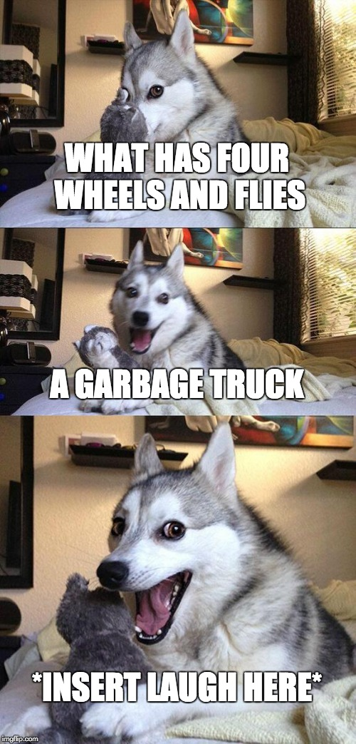 Bad Pun Dog Meme | WHAT HAS FOUR WHEELS AND FLIES A GARBAGE TRUCK *INSERT LAUGH HERE* | image tagged in memes,bad pun dog | made w/ Imgflip meme maker
