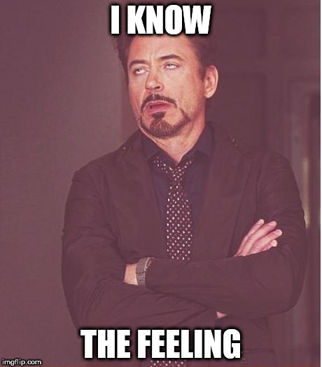 Face You Make Robert Downey Jr Meme | I KNOW THE FEELING | image tagged in memes,face you make robert downey jr | made w/ Imgflip meme maker