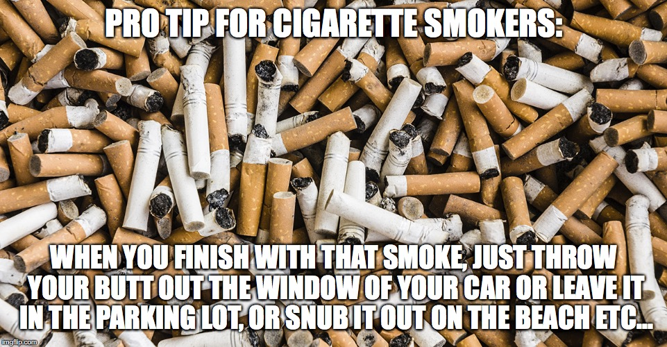 litterbugs | PRO TIP FOR CIGARETTE SMOKERS: WHEN YOU FINISH WITH THAT SMOKE, JUST THROW YOUR BUTT OUT THE WINDOW OF YOUR CAR OR LEAVE IT IN THE PARKING L | image tagged in litter,cigarettes,psa,meme,trash | made w/ Imgflip meme maker