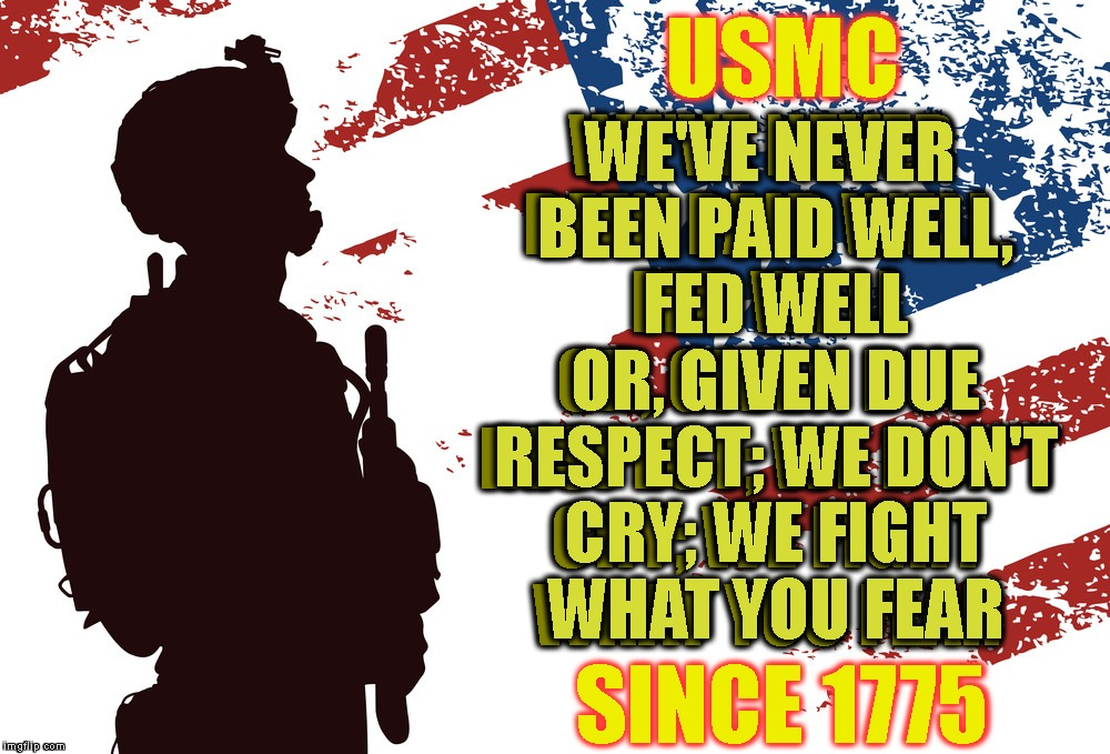 This Is What Real Pride Looks Like - God - Country - Corps! | USMC SINCE 1775 WE'VE NEVER BEEN PAID WELL, FED WELL OR, GIVEN DUE RESPECT; WE DON'T CRY; WE FIGHT WHAT YOU FEAR WE'VE NEVER BEEN PAID WELL, | image tagged in usmc,marines,marine corps,usa,pride,service | made w/ Imgflip meme maker