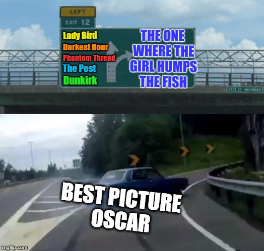 Hardly anyone watched the Oscars, so I'll just fill you in. | Lady Bird BEST PICTURE OSCAR THE ONE WHERE THE GIRL HUMPS THE FISH Darkest Hour Phantom Thread The Post Dunkirk | image tagged in memes,left exit 12 off ramp,oscar,hollywood,best picture,the shape of water | made w/ Imgflip meme maker
