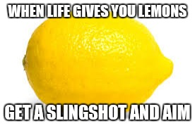 When life gives you lemons, X | WHEN LIFE GIVES YOU LEMONS GET A SLINGSHOT AND AIM | image tagged in when life gives you lemons,x | made w/ Imgflip meme maker