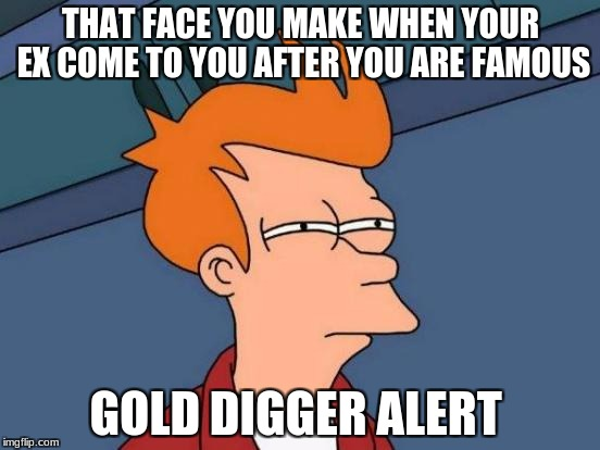 Futurama Fry Meme | THAT FACE YOU MAKE WHEN YOUR EX COME TO YOU AFTER YOU ARE FAMOUS GOLD DIGGER ALERT | image tagged in memes,futurama fry | made w/ Imgflip meme maker
