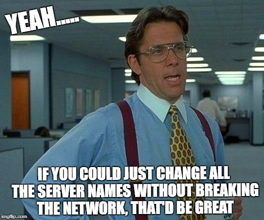 That Would Be Great Meme | YEAH..... IF YOU COULD JUST CHANGE ALL THE SERVER NAMES WITHOUT BREAKING THE NETWORK, THAT'D BE GREAT | image tagged in memes,that would be great | made w/ Imgflip meme maker