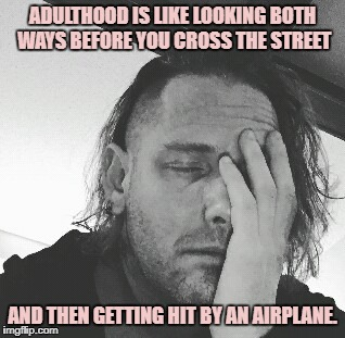 ADULTHOOD IS LIKE LOOKING BOTH WAYS BEFORE YOU CROSS THE STREET AND THEN GETTING HIT BY AN AIRPLANE. | image tagged in adulting,funny,memes,funny memes | made w/ Imgflip meme maker