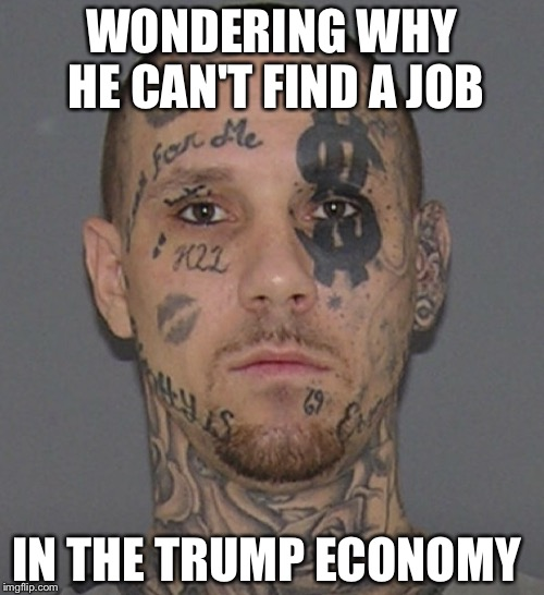 kook | WONDERING WHY HE CAN'T FIND A JOB IN THE TRUMP ECONOMY | image tagged in kook | made w/ Imgflip meme maker