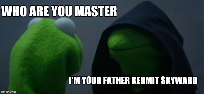 Evil Kermit Meme | WHO ARE YOU MASTER I'M YOUR FATHER KERMIT SKYWARD | image tagged in memes,evil kermit | made w/ Imgflip meme maker