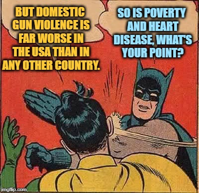 Batman Slapping Robin Meme | BUT DOMESTIC GUN VIOLENCE IS FAR WORSE IN THE USA THAN IN ANY OTHER COUNTRY. SO IS POVERTY AND HEART DISEASE, WHAT'S YOUR POINT? | image tagged in memes,batman slapping robin | made w/ Imgflip meme maker