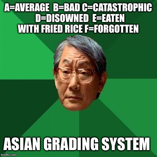 High Expectations Asian Father Meme | A=AVERAGE  B=BAD C=CATASTROPHIC  D=DISOWNED  E=EATEN WITH FRIED RICE F=FORGOTTEN ASIAN GRADING SYSTEM | image tagged in memes,high expectations asian father | made w/ Imgflip meme maker