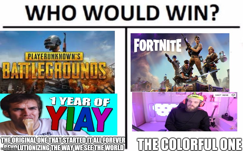 Who Would Win? Meme | THE ORIGINAL ONE THAT STARTED IT ALL FOREVER REVOLUTIONIZING THE WAY WE SEE THE WORLD THE COLORFUL ONE | image tagged in memes,who would win | made w/ Imgflip meme maker