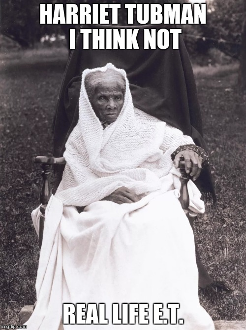 The real life E.T. was a slave | HARRIET TUBMAN I THINK NOT REAL LIFE E.T. | image tagged in memes,dank,funny,dank memes | made w/ Imgflip meme maker