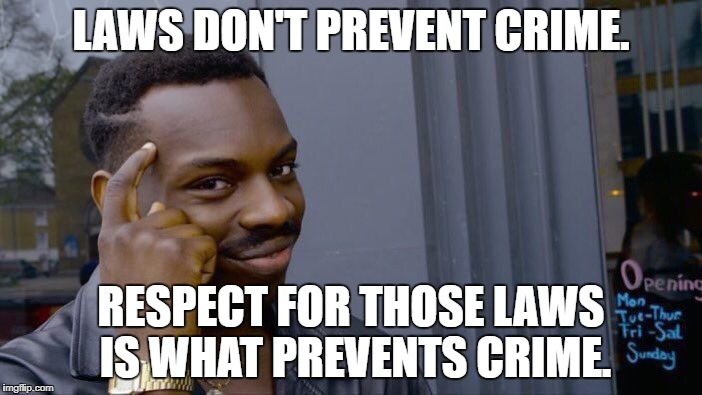 Roll Safe Think About It Meme | LAWS DON'T PREVENT CRIME. RESPECT FOR THOSE LAWS IS WHAT PREVENTS CRIME. | image tagged in memes,roll safe think about it | made w/ Imgflip meme maker