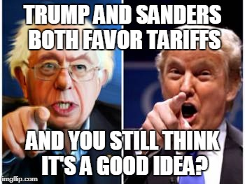 Terrible Tariffs | TRUMP AND SANDERS BOTH FAVOR TARIFFS AND YOU STILL THINK IT'S A GOOD IDEA? | image tagged in tariffs,free trade,donald trump,bernie sanders | made w/ Imgflip meme maker