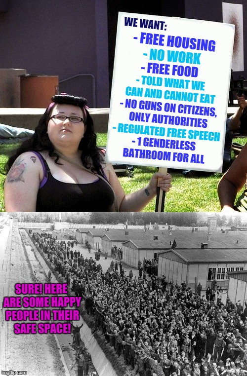 Safe Space for YOU! And for YOU! Safe Space for EVERYONE! | WE WANT: SURE! HERE ARE SOME HAPPY PEOPLE IN THEIR SAFE SPACE! - FREE HOUSING - NO WORK - FREE FOOD - TOLD WHAT WE CAN AND CANNOT EAT - NO G | image tagged in funny,safe space,concentration camp,internment camp | made w/ Imgflip meme maker