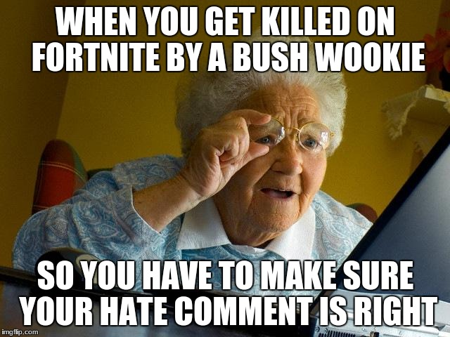 Grandma Finds The Internet Meme | WHEN YOU GET KILLED ON FORTNITE BY A BUSH WOOKIE SO YOU HAVE TO MAKE SURE YOUR HATE COMMENT IS RIGHT | image tagged in memes,grandma finds the internet | made w/ Imgflip meme maker