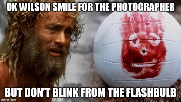 OK WILSON SMILE FOR THE PHOTOGRAPHER BUT DON'T BLINK FROM THE FLASHBULB | made w/ Imgflip meme maker