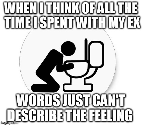 WHEN I THINK OF ALL THE TIME I SPENT WITH MY EX WORDS JUST CAN'T DESCRIBE THE FEELING | image tagged in saturday morning | made w/ Imgflip meme maker