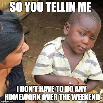 Third World Skeptical Kid Meme | SO YOU TELLIN ME I DON'T HAVE TO DO ANY HOMEWORK OVER THE WEEKEND | image tagged in memes,third world skeptical kid | made w/ Imgflip meme maker