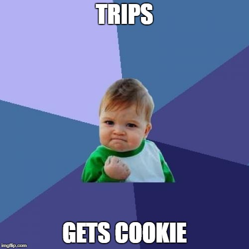 Success Kid Meme | TRIPS GETS COOKIE | image tagged in memes,success kid | made w/ Imgflip meme maker